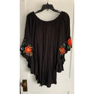 Off the shoulder LBD with bell sleeves